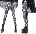 New Fashion Casual Hot Sale Euramerican Cross Printed Elastic Slim Thin Black Milk Silk Leggings Pencil Pants For Women