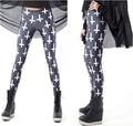 New Fashion Casual Hot Sale Euramerican Cross Printed Elastic Slim Thin Black Milk Silk Leggings Pencil Pants For Women