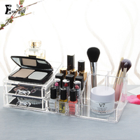 Crystal Cosmetic Organizer Clear Makeup Jewelry Cosmetic Storage Display Box Acrylic Case Stand Rack Holder Organizer