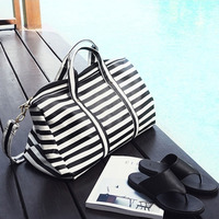 Simple Classic Striped Women Travel Bags Quality Pu Leather Weekend Luggage Bag Capacity Shoes Duffel Tote
