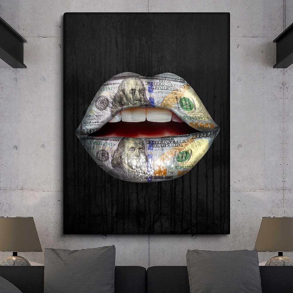 Qkart 포스터 및 인쇄 그림 섹시한 입술 그림 홈 장식 아니 프레임 벽 사진 거실 캔버스 회화 벽 예술