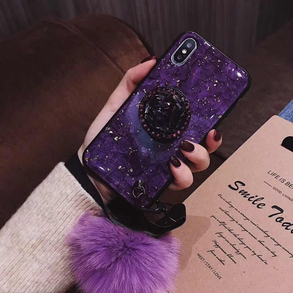 c6d86d669c 3D Luxury diamond Glitter Case For iPhone X XS XR XS Max Silicone Plush  Hand Strap Cases For iPhone 6 6S 7 8 Plus Back Cover