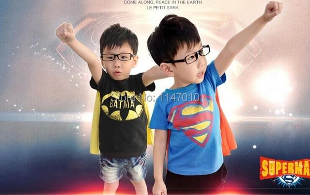 Горячие Продажа Дети Дети Одежда Тис, Cool Супермен Бэтмен Мальчиков Младенца Футболки Для Лета, Мальчики Мультфильм Верхняя Одежда футболка С Плащ