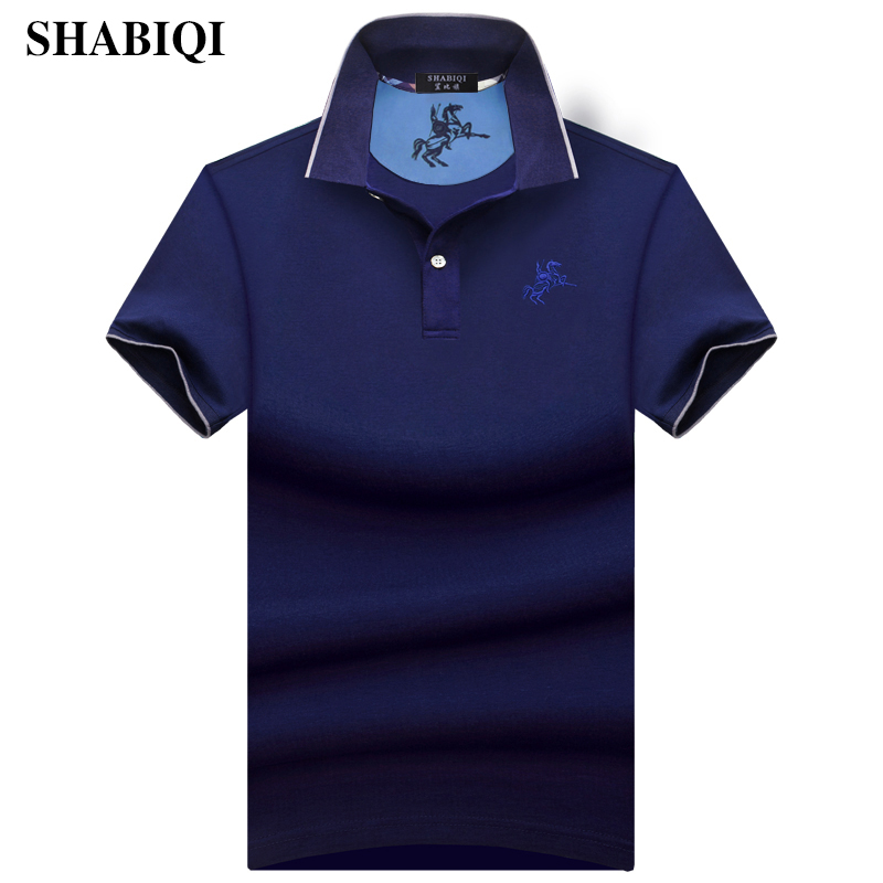 SHABIQI New 2018 Fashion Brand Men   Polo   shirt Solid Color Slim Fit Shirt Men Cotton   polo   Shirts Casual Shirt big sizeS-10XL