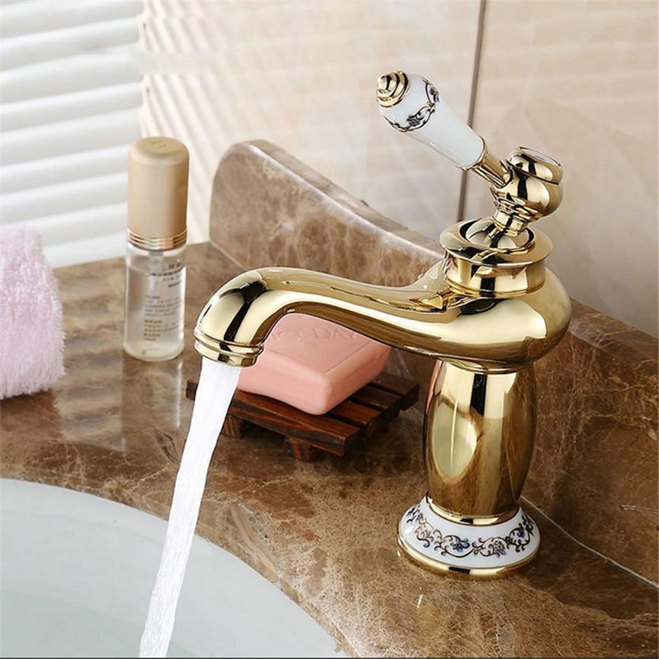 Discount bathroom faucets bronze - Bathroom Basin Faucet Kitchen Antique Bronze Brass Mixer Tap With Ceramic Sink Taps Bath Mier Crane Gold Rose Gold Silver