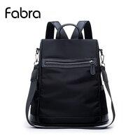 Fabra Patchwork Waterproof Nylon Women Backpack Bags Fashion Casual Shoulder Bag Small Black Daily Packs Korean