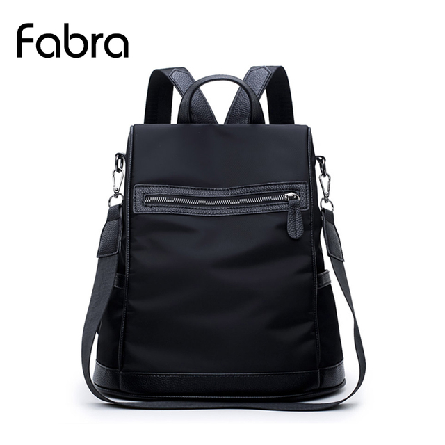 e9481538cfdf Fabra Patchwork Waterproof Nylon Women Backpack Bags Fashion Casual  Shoulder Bag Small Black Daily Packs Korean Style Bag Black