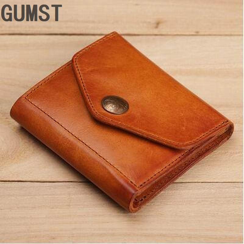 GUMST Wallet Men Short Purses Genuine Leather Male Clutch Wallets Purse Vintage Mens Money Clips High Quality Coin Wallet Bag