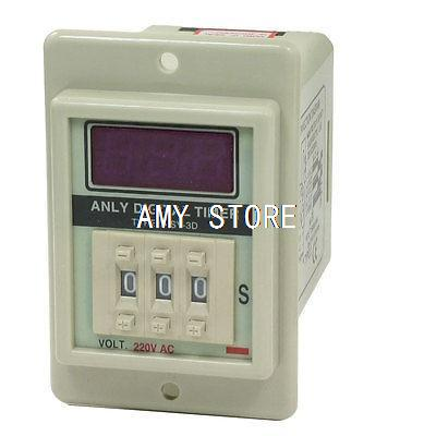 ASY-3D AC 220V 8-Pin DPDT 999 Seconds 0-999Sec Timing Delay Timer Relay Gray szs hot dc 12v 0 30 seconds 30s electric delay timer timing relay dpdt 8p w base