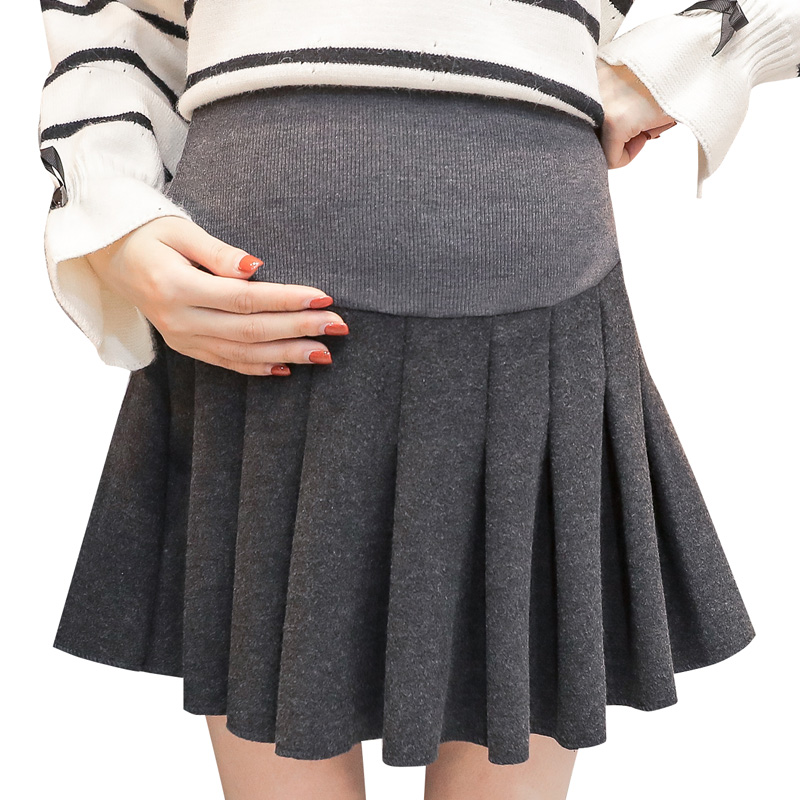 Pengpious 2018 pregnant women abdominal high waist woolen skirt pregnancy leggings solid color pleated skirt maternity skirts