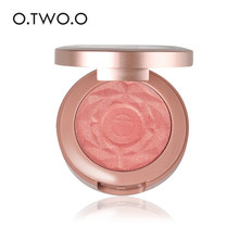O.TWO.O Shimmer Blusher With Brush Makeup Flower Palette Long-Lasting Face Check Best Blush Pink Orange Red Color Maquiagem(China)
