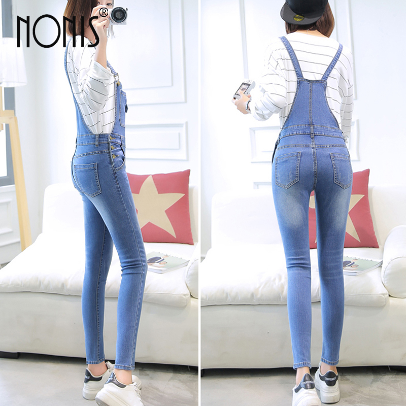 Nonis Women Washed Denim Jumpsuits Casual Sexy Stretch Romper LadiesDenim Pencil Overalls Slim Dungarees For 4 season