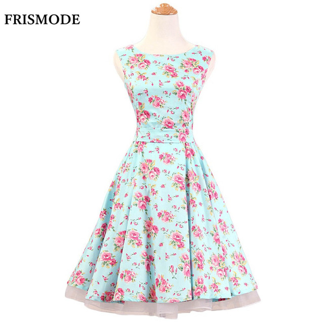 42462153860 FRISMODE Mint Green 100% Cotton Sleeveless 1950s Swing Dress Summer Fashion  Women Floral Dress Audrey