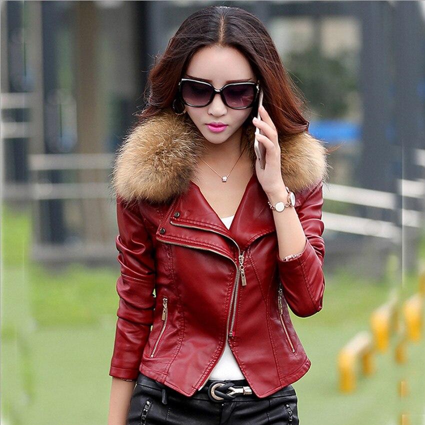 M 5XL Women Fashion Leather Jacket Coat 2017 winter Autumn Plus Size Raccoon Fur Collar Motorcycle