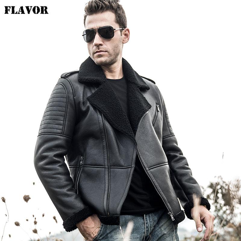 FLAVOR Men's Real Leather Jacket Men Motorcycle Genuine Shearling Jacket Winter Warm Coat