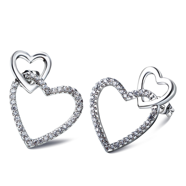 Romantic heart earring for girls sweet  look white gold plated setting AAA Cubic Zirconia Stud Earrings Woman Brincos Jewelry