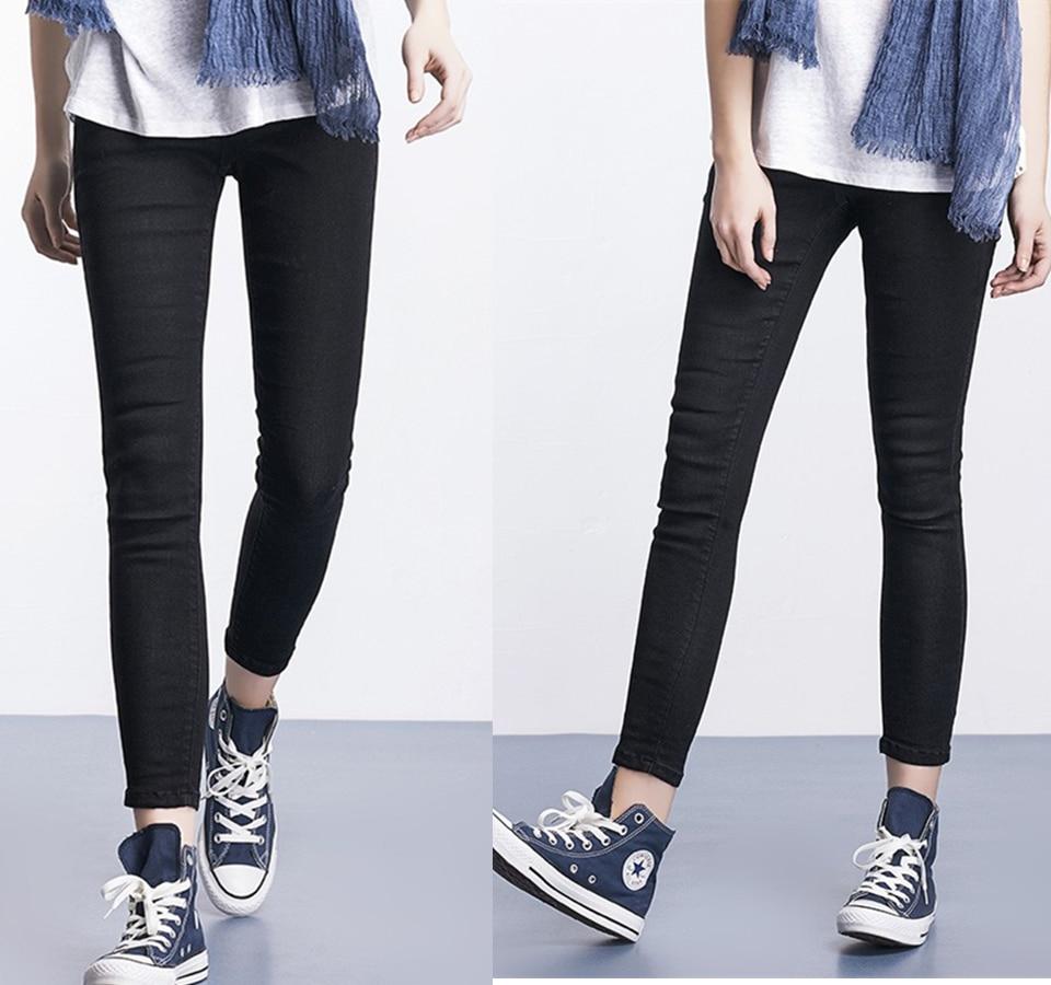 Women Plus Size Casual Slim Stretch Cotton Denim Jeans Blue black 26