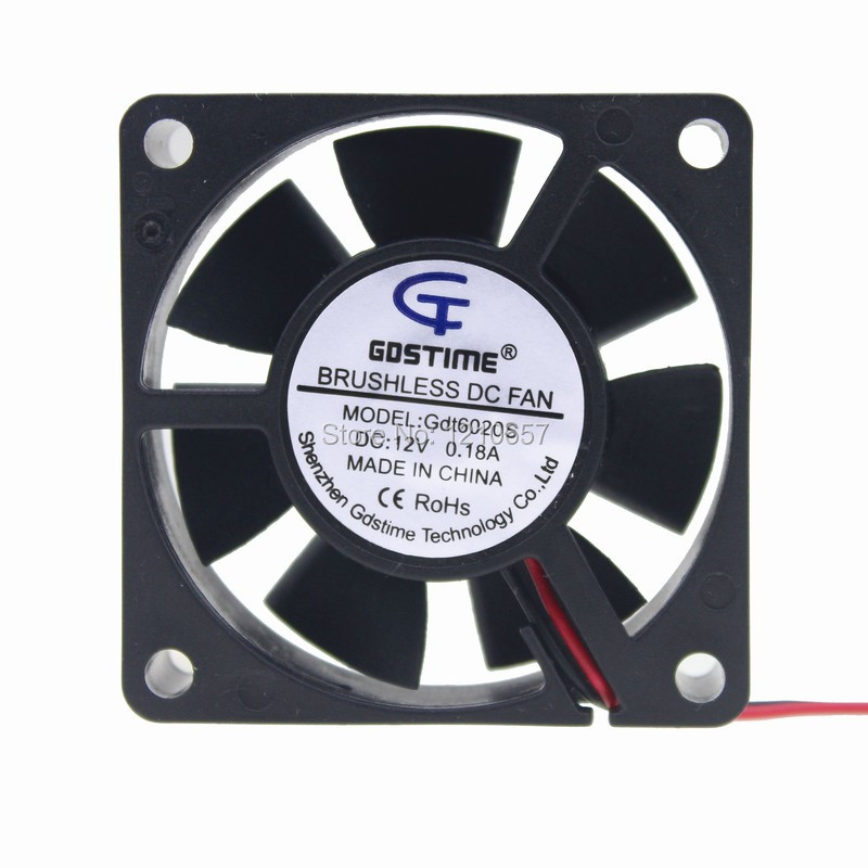 2 Pieces LOT 6020 60mm 6cm 60x20mm DC 12V 2Pin Cooler Brushless Cooling Fan 20 pieces lot gdstime 40mm 40 x 40 x 10mm 4010s dc 12v 2p brushless cooler cooling fan