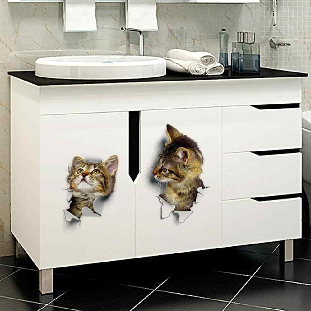 Hobbylane 3D Kat Muursticker Badkamer Wc Woonkamer 3D Stickers Voor Home Decor Animal Vinyl Decals Poster
