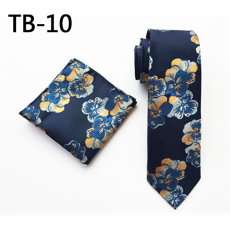 Blue Floral Tie & Pocket Square Wedding Tie Gift For Him