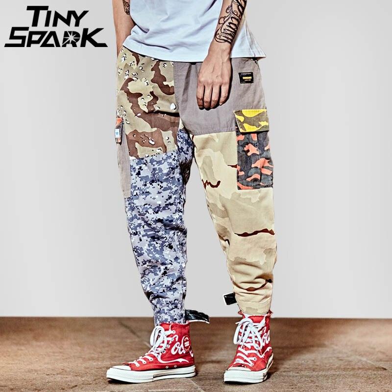 Harajuku Хип-хоп брюки уличная Для мужчин мешковатый Гарем Пант лодыжки лоскутные брюки карман Повседневное камуфляж Tatical штаны-карго 2018