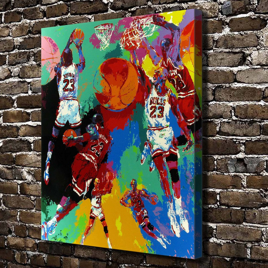 A1847 LeRoy Neiman Colorful Abstract Basketball Match ,HD Canvas Print Home decoration Living Room Wall pictures Art painting