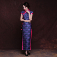 New Chinese Traditional Dress retro pattern style robe Long wedding party Cheongsam Dresses Vintage Qipao Women oriental gown