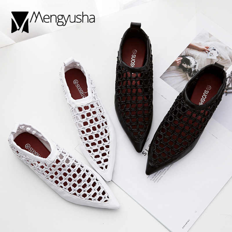 black/white cutout rope sandals women pointed toe flat summer shoes breathable mesh espadrilles sandalias women hollow mulesc618