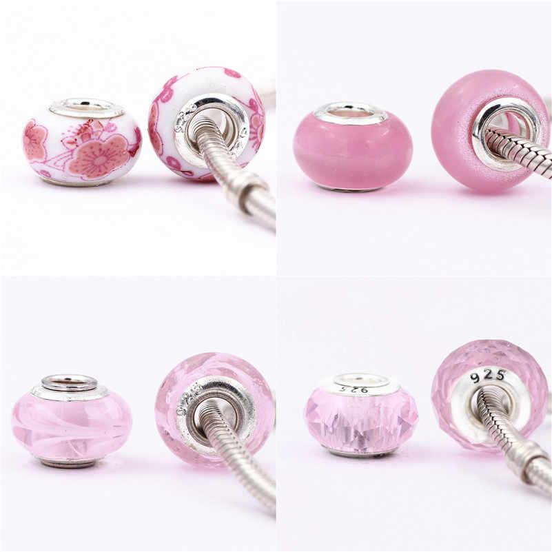 45 รูปแบบเลือกสีชมพู seriessilver เงิน diy bead fit Pandora charms สร้อยข้อมือเงิน trinket เครื่องประดับสำหรับผู้หญิง