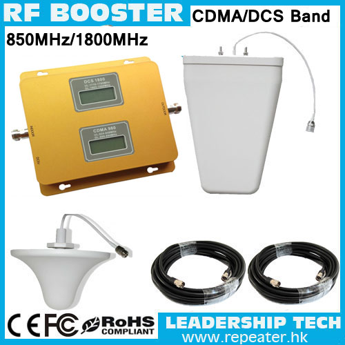 DCS/CDMA 1800mhz/850mhz Dual Band Mobile Phones Repeaters GSM1800mhz CDMA850mhz Two Band Cellular Phones Booster With Antennas
