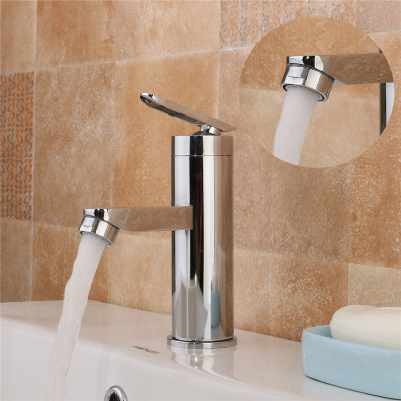 Single Handle Bathroom Hot/Cold Water Mixer Taps Brushed Chrome Basin Faucet Bathroom Kitchen Deck Mounted Basin FaucetSingle Handle Bathroom Hot/Cold Water Mixer Taps Brushed Chrome Basin Faucet Bathroom Kitchen Deck Mounted Basin Faucet