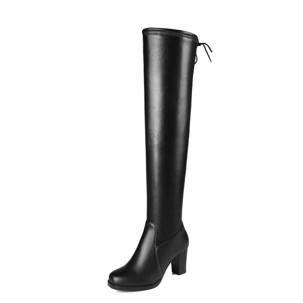 Original Intention Nice Stylish Women Knee-High Boots Sqaure Toe Square Heels Boots Beautiful Black Shoes Woman US Size 3-13 original intention nice fashion women knee high boots round toe square heels boots beautiful black shoes woman us size 3 5 13
