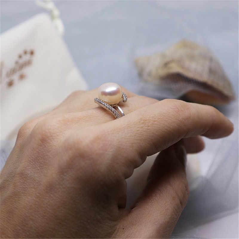 2019 ขายแท้แหวนเงินแท้ 925 เครื่องประดับไข่มุก 9-10 มม.ไข่มุกแหวน