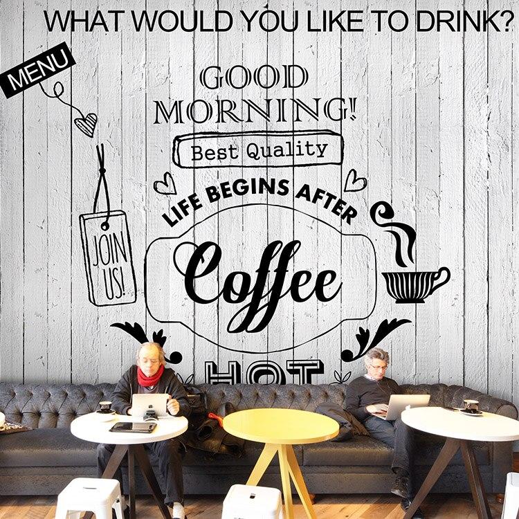 1393f848015d7 موضوع خلفية مخصصة 3d الصلبة الخشب الأوروبي الرجعية القهوة مقهى مطعم خلفية  جدارية خلفية