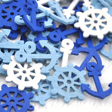 100 шт микс многоформенные декоративные кнопки для рукоделия деревянная картина море моряк якорь серия Кнопка сделай сам ручной работы WB340