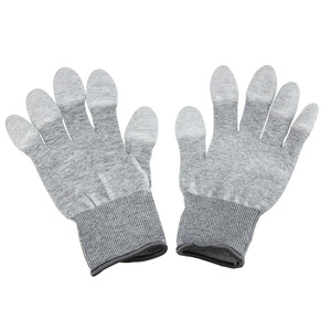 UANME 1Pairs AntiStatic ESD Safe Gloves Anti-static Anti-skid PU Finger Top Coated for Electronic Repair Works