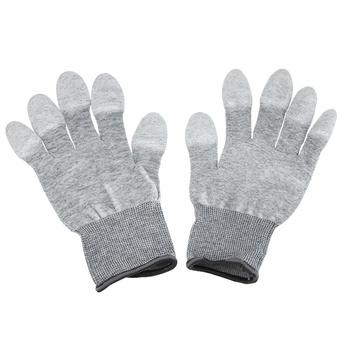 UANME 1Pairs antystatyczny esd bezpieczne rękawice antystatyczne antypoślizgowe PU Finger Top powlekane do elektronicznych prac naprawczych tanie i dobre opinie Antistatic Gloves Free size Elektryczne Zestaw narzędzi komputerowych Safety Gloves Electronic Small parts handling Hand Tools Combination