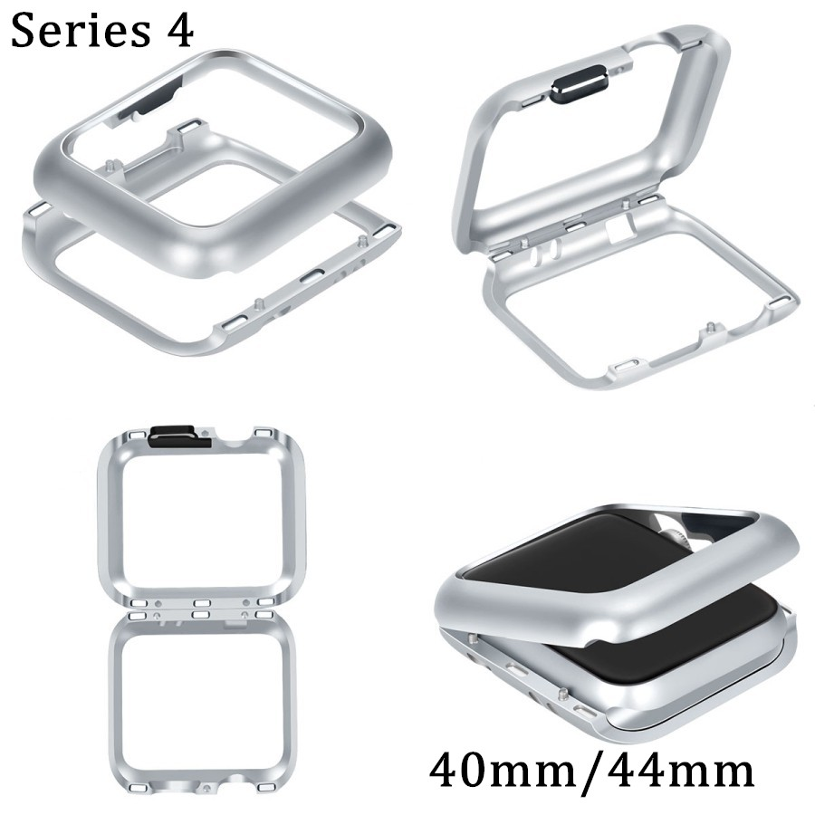 Magnetic Adsorption Case Aluminum For Apple Watch 40mm 44mm Series 4 Watch All Protective Built-in Magnet Metal Frame Cover for iphone x case magnetic metal frame tempered glass back magnet flip cover
