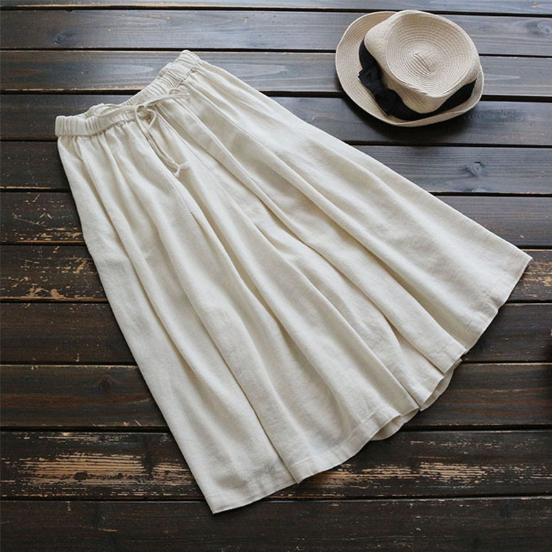 Summer Casual Wide Leg Pants Women's Solid High Waist Cotton And Linen Loose Waist Leisure Female Vestido Calf-Length Pants U585