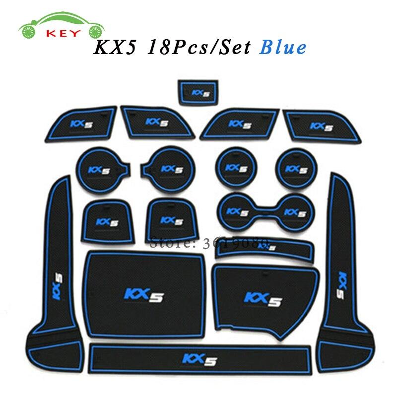 For KIA KX5 Car Gate Slot Mat Rubber Anti-slip Door Pad Auto Cup Holder Mat Car Interior Accessories 18Pcs