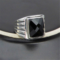 BESTLYBUY 100 Real Pure 925 Sterling Silver Black Onyx Rings For Men Retro Square Natural Stone