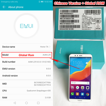 Huawei Honor 7A 2GB 32GB Global Rom 4G LTE Mobilephone Face ID Unlock 5.7 inch Screen Android 8.0 13MP Camera 3000mAh Battery