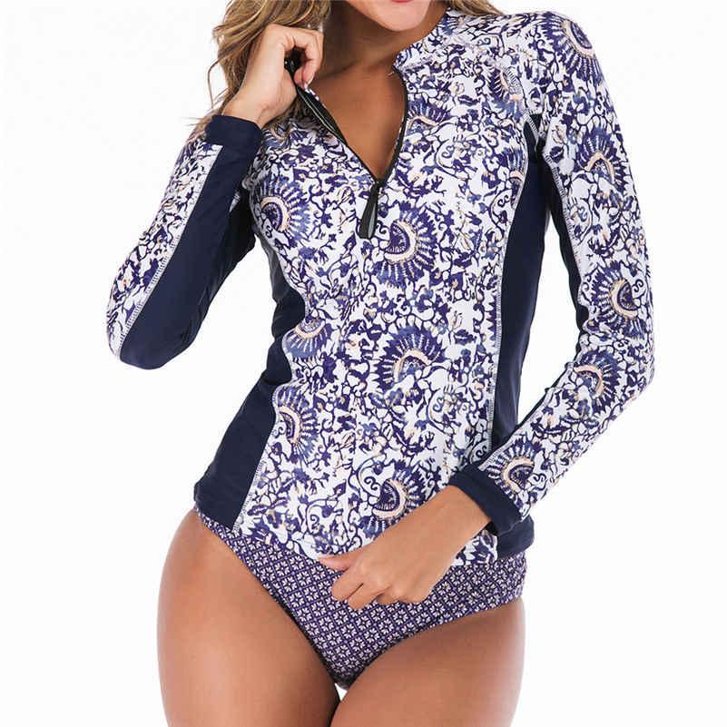 2020 طويلة الأكمام ملابس النساء طباعة الأزهار قطعة واحدة ملابس السباحة المايوه الرجعية ملابس السباحة Surf تصفح المايوه حجم كبير 4as