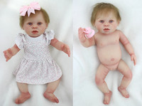 20 inch Full Body Silicone Toddler Vinyl Reborn Baby Girl Doll Newborn Lifelike Handmade Toy gift with cloth can be wash