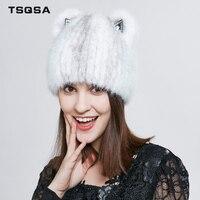 TSQSA Female Casual Beanies Natural Real Mink Fur Cap Fashion Mink Women Hat Animal Pattern Type Lady Fur Caps TAH1805