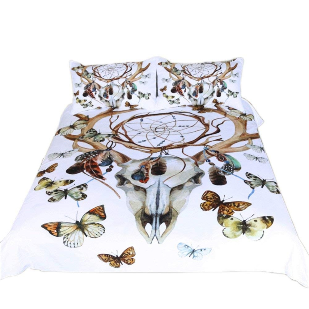 Duvet Cover Set(no comforter),Feathers Dream catcher Horns Butterfly Pattern Boho Style Bedding Set Duvet Cover Set(no comforter),Feathers Dream catcher Horns Butterfly Pattern Boho Style Bedding Set