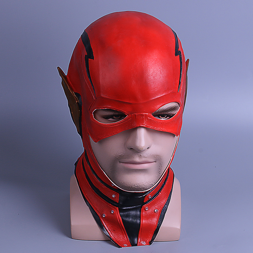 The Flash Mask DC Barry Allen Mask Cosplay Costume Prop Halloween Full Head Latex Party Masks