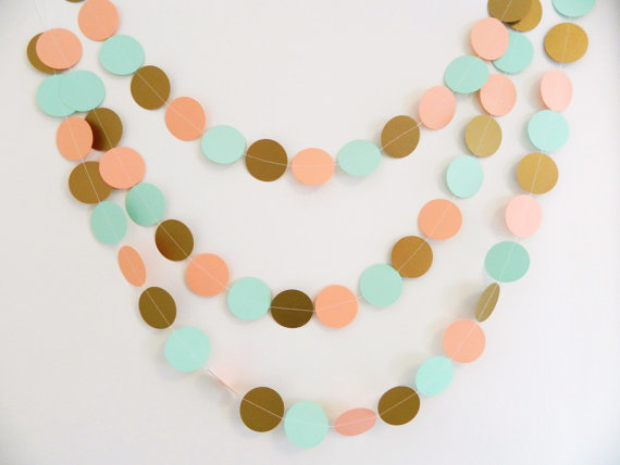 Gold Coral And Mint Paper Garland Wedding Garland Baby Shower