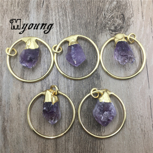 Natural Amethysts Purple Crystal Quartz Druzy Point Pendants,Rough Charms With Plated Finish loop For DIY Jewelry MY2004