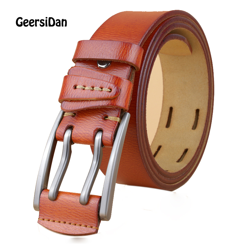 GEERSIDAN 2018 Designer high quanliy genuine leather belt for men Vintage brand mens belt double pin buckle belts for jeans